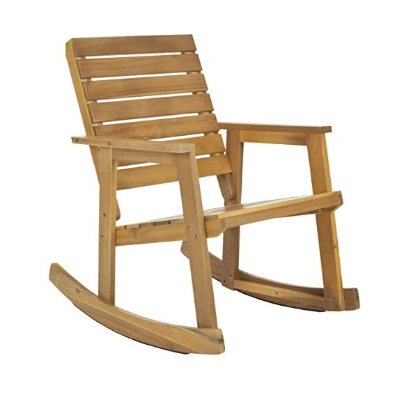 Safavieh Outdoor Collection Alexei Natural Brown Rocking Chair - Collection:Fox Color:TEAK Construction:GALVANISED STEEL; ACACIA WOOD - patio-furniture, patio-chairs, patio - 41o9T zVREL. SS570  -