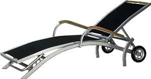 Designliege Rolliege para tomar el sol tumbona aluminio / negro / teca con ruedas