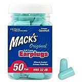 Mack's Original Soft Foam Earplugs, 50 Pair - 32dB Highest NRR, Comfortable Ear