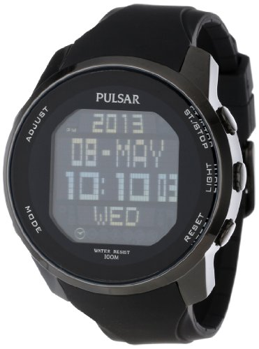 (Pulsar Men's PQ2011 Stainless Steel Digital Watch with Black Polyurethane Band)