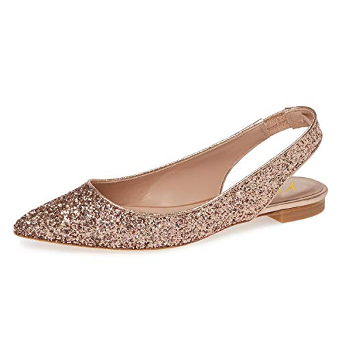 YDN Women Pointed Toe Slingback Ballet Flats Low Heel Slide Sandals Comfortable Slip On Dress Pumps Rose Gold Glitter 12