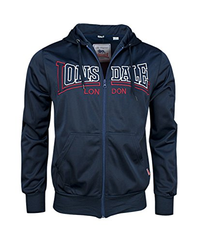 Lonsdale Men´s Slim-fit Fleece Lined Hooded Training Tricot Jacket Blue (Small (S) Slim-Fit) (Training Lonsdale)