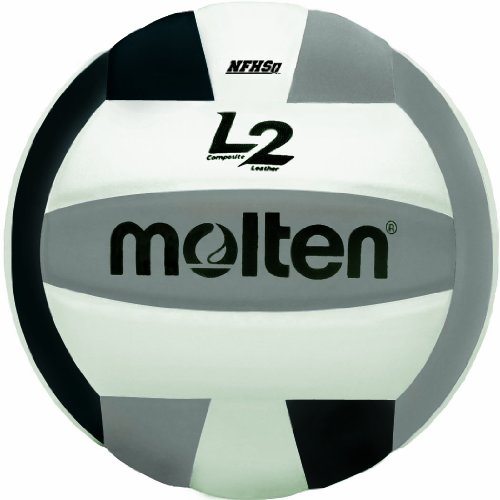 Molten Premium Competition L2 Volleyball, NFHS Approved, Black/Silver/White