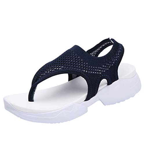 (GINELO Women Ladies Lightweigh Wedges Breathable Comfort Hollow Out Casual Wedges Mesh Shoes Sandals Dark Blue)