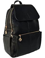 LDW Femal Bag Soft Leather Backpack, Lovely Schoolbag Shoulder Bag Black Sports Knapsack for Women and Girls