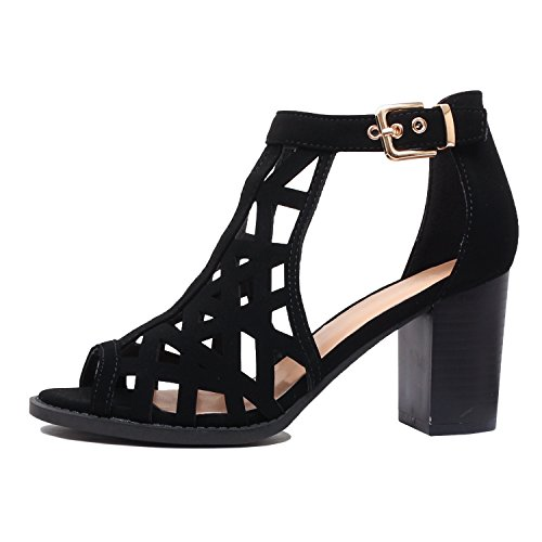 Out Chunky Heart Womens Guilty Block Strappy Comfortable Perforated Cut Blackv9 Pu Heel Open Sandals Mid Shoe Toe Walking qIvRfRw