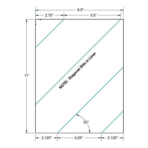 "8.5"" x 11"" White Full Sheet w/Diagonal Slits, 1 label per Sheet (250 Sheets per Carton)"