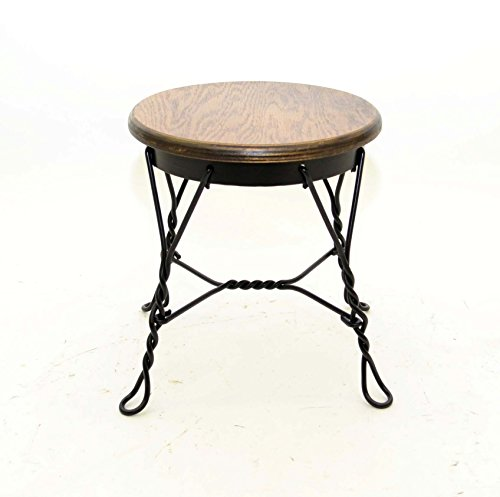Wrought Iron Ice Cream Parlor Stool, Small-12.5 Inches High x 11 3/8 Inch Diameter Seat. Oak Veneer Top.