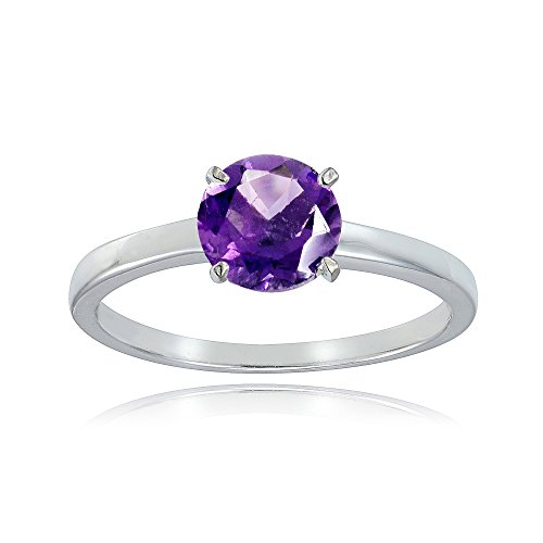 (Sterling Silver African Amethyst 8mm Round Solitaire Bridal Engagement Ring, Size 8)