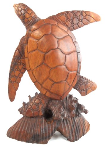 LARGE HAND CARVED MAHOGANY TURTLE SCULPTURE TABLE TOP CENTER (Carved Sculpture)
