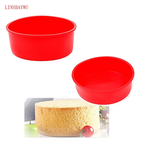(1 piece LINSBAYWU 1 pc Round Shape Cake Mold Big Size DIY Silicone Non-Stick Muffin Cake Pan Bread Chocolate Making Mold Baking Pan)