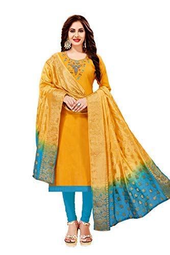 192946980d Blissta Women's Yellow Slub Cotton Handwork Salwar Suit Material With Banarasi  Dupatta: Amazon.in: Clothing & Accessories