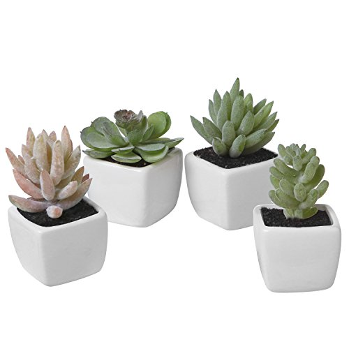 MyGift Assorted Lifelike Mini Artificial Succulent Plants in White Cube Ceramic Pots, Set of 4
