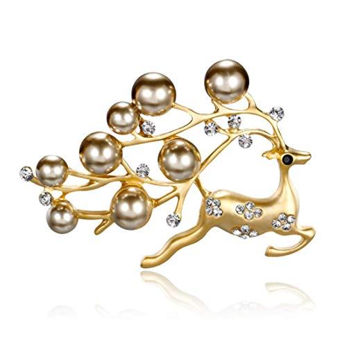 Christmas Holiday Pin (YFan Christmas Reindeer Brooch Pins Cute Rhinestone Animal Deer Synthetic Pearls Brooch)