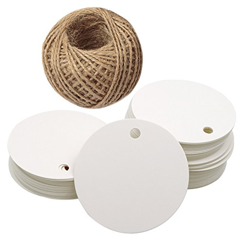 (G2PLUS Kraft Paper Gift Tag with 100 Feet Jute Twine, Round Shaped 5.5 cm Blank Hang Tags for Craft Projects, Xmas Gifts (White))