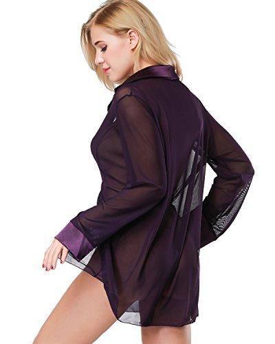e54d8ecd9c ETAOLINE Women s Sexy Sheer Sleepshirt Pajamas Long Sleeve Mesh Blouse  Lingerie