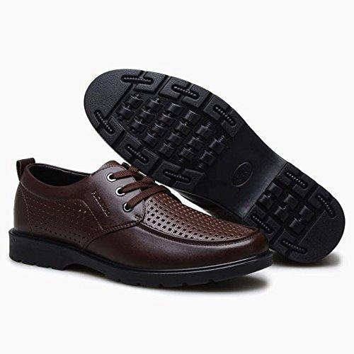Los Planos Para Respirables Verano Cuero Brown up Punta Del Negocio Zapatos Con Agujero Hombres Top Cordones Casuales Redonda La De 7HPzXn