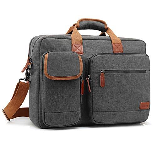 CoolBELL 15.6 Inch Laptop Bag Canvas Briefcase Protective Messenger Bag Shoulder Bag for Laptop/Ultrabook/Tablet/Men/Women/Business (Canvas Dark Grey)