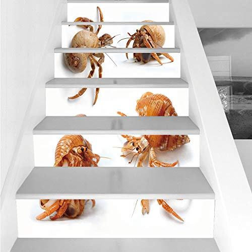 Stair Stickers Wall Stickers,6 PCS Self-adhesive,Crabs Decor,Sea Animals Theme Set of Hermit Crabs from Caribbean Sea Digital Print,Marigold and White,Stair Riser Decal for Living Room, Hall, Kids Roo (Hooks Caribbean House)