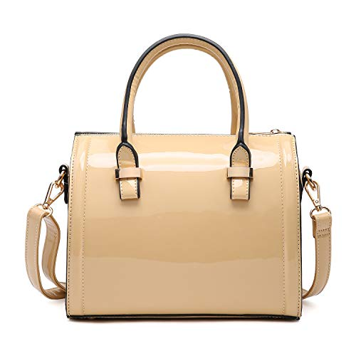 (Dasein Shiny Patent Faux Leather Mini Barrel Body Satchel Handbag Shoulder Bag - Small)