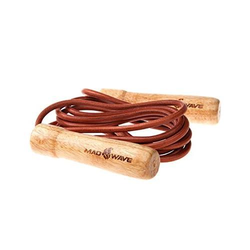 Mad Wave m132104000W Corde à sauter avec poignées en bois et cordon en cuir–Marron, 270cm x 6mm