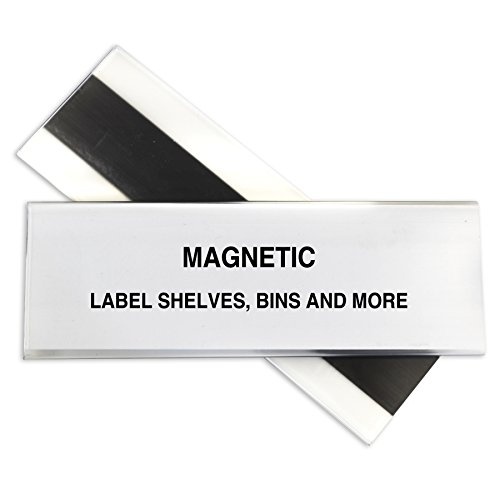 C-Line HOL-DEX Magnetic Shelf/Bin Label Holders, 2 x 6 Inches, 10 per Box (87247)