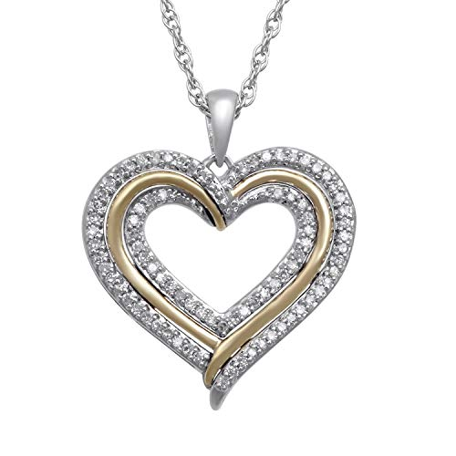 Jewelili 14kt Yellow Gold and Sterling Silver 1/4cttw Round Natural White Diamond Two Tone Heart Pendant Necklace, 18