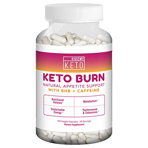 (Kiss My Keto Burn Capsules – 180 Veggie Caps, Exogenous Ketones Capsules with BHB Salts as Ketones for Appetite Support w/Caffeine, Apple Cider Vinegar, L-Carnitine, CLA, Garcinia)