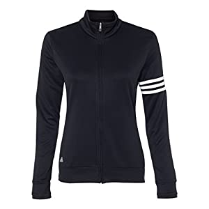 adidas A191 Ladies ClimaLite 3-Stripes Full Zip Pullover Jacket - Black & White, Large