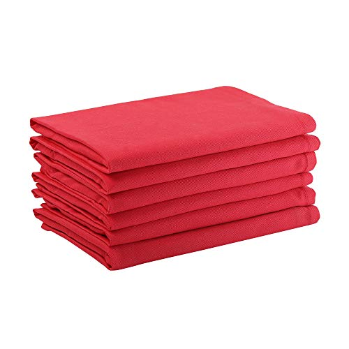Dinner Napkins, 100% Cotton, Red, Set of 6, 18 x18 Inch, Premium Quality made with Fine Yarn (Red Cotton Napkins)