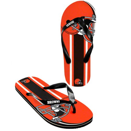 Cleveland Browns official NFL Unisex Flip Flop Beach Shoes Sandals slippers size large by forever