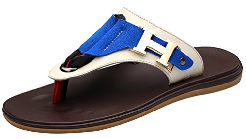 Abby QZYYU-018 Mens Casual Open Split Toe Leisure Flat Beach Slide Vogue Antislipping Outdoor Snug Flip Flops Open Back Shoes Street Fashionable Pool Slippers Soft Thong Blue UrMsd9m