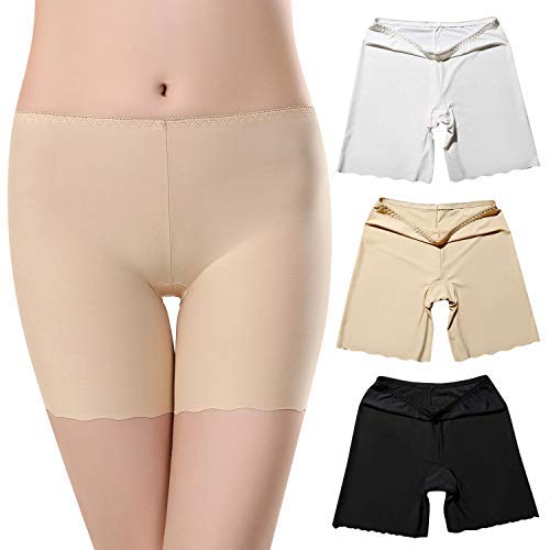 UMIPUBO 3 Pack Womens Shorts Anti Chafing Underwear Seamless Slipshort Safety Pants Ice Silk Invisible Leggings Stretchy Under Dresses Boxer Briefs