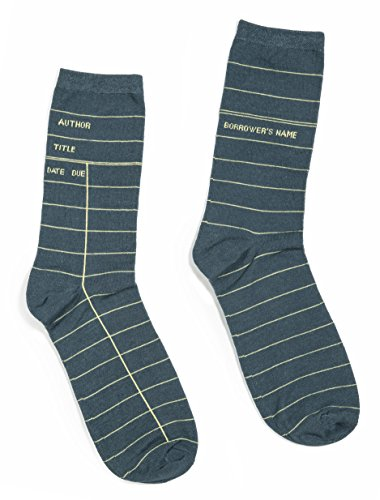 Out of Print Unisex Library Card Socks Small Grey
