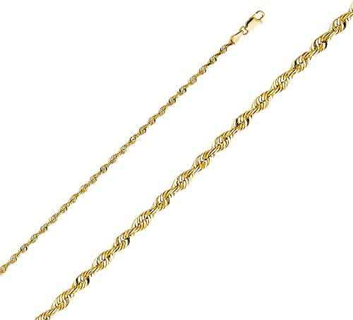 Wellingsale 14k Yellow Gold SOLID 3mm Polished Diamond Cut SOLID Rope Chain Necklace with Lobster Claw Clasp