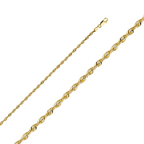 Wellingsale 14k Yellow Gold SOLID 3mm Polished Diamond Cut SOLID Rope Chain Necklace with Lobster Claw Clasp - 18