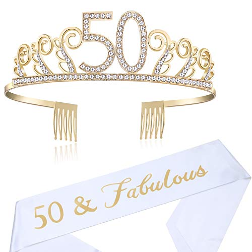 BABEYOND 50th Birthday Tiara and Sash Crystal Happy Birthday Crown and Satin 50 & Fabulous Sash 50th Birthday Party Supplies Rhinestone 50th Princess Crown and Glitter Sash (Set-1)]()