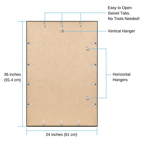 FrameMaster-24×36-Poster-Frame-1-Pack-Pre-Assembled-with-Sturdy-MDF-Backer-Board-Black