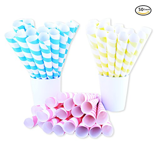 Fairy Cones Premium Multicolor Cotton Candy Cones (50 pcs), Pastel Yellow Blue and Red White Striped cones, Colorful Instructions, Carnival Vintage Pastel Style, Perfect for multiple Themes & All Ages Coney Island Cotton Candy