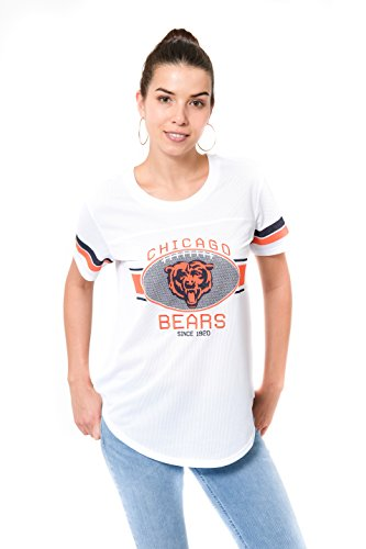 Ladies Nfl Jerseys (NFL Women's Chicago Bears Jersey T-Shirt Mesh Varsity Stripe Short Sleeve Shirt, Medium, White)