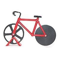 HanDingSM Fahrrad-Pizzaschneider, doppelte Schneide aus Edelstahl, Antihaftbeschichtung, Schneide-Räder mit Ständer rot