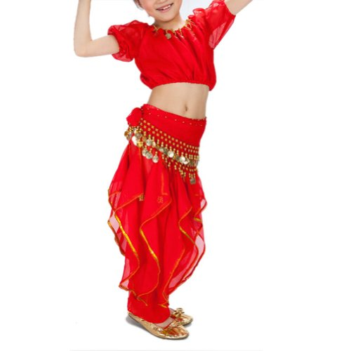 [BellyLady Kid Belly Dance Halloween Costume, Harem Pants & Short Sleeve Top Set RED-M] (Ideas For Halloween Costumes For Teenage Girl)