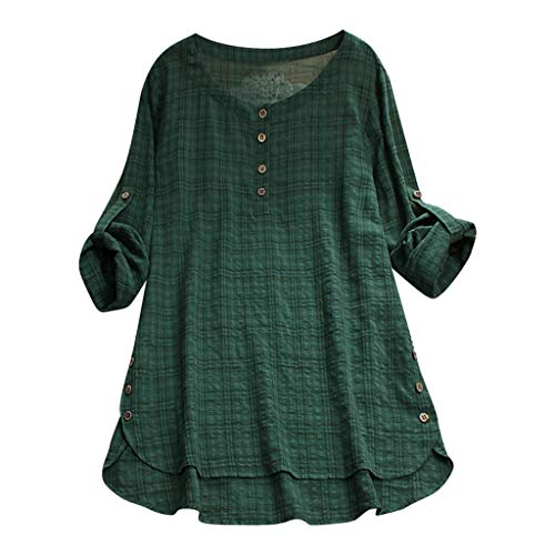 Dachshund Black Denim Shirt - TUSANG Womens Casual Loose Linen Plus Size Plaid Button Shirt Tops Loose Lightweight Shirt for Women (Green,US-12/CN-2XL)