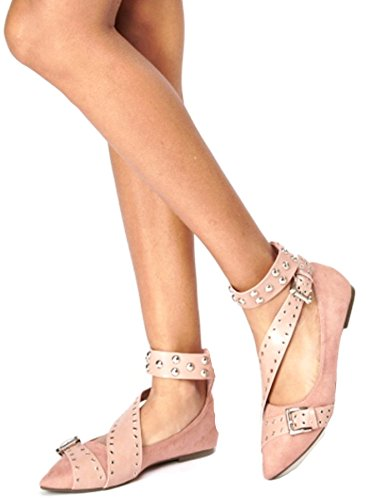 Definitely You Ladies Womens Flat Dolly Pumps Ballet Ballerina Ankle Strap Studded Shoes Size Pink fEO7GyXW