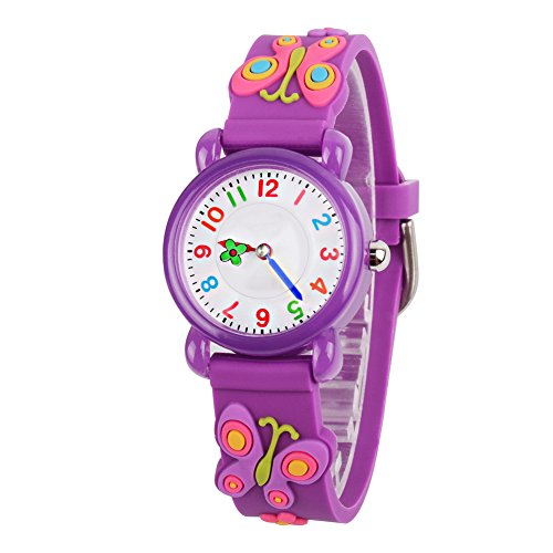Venhoo Kids Watches Cartoon Waterproof Silicone Children Wristwatches Time Teacher Gifts for Boys Girls (Purple)