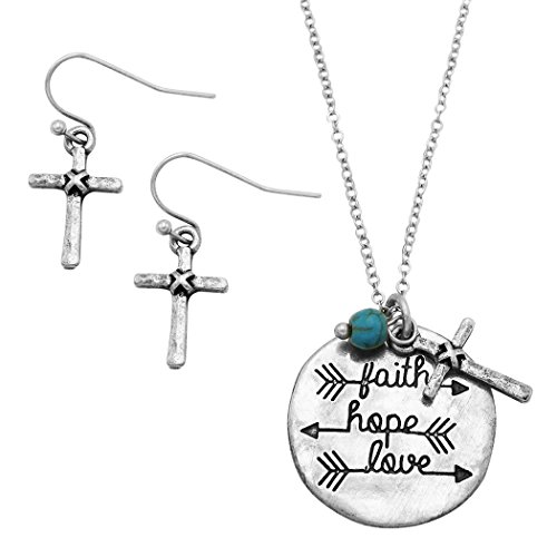 Rosemarie Collections Women's Religious Jewelry Necklace Earrings Set