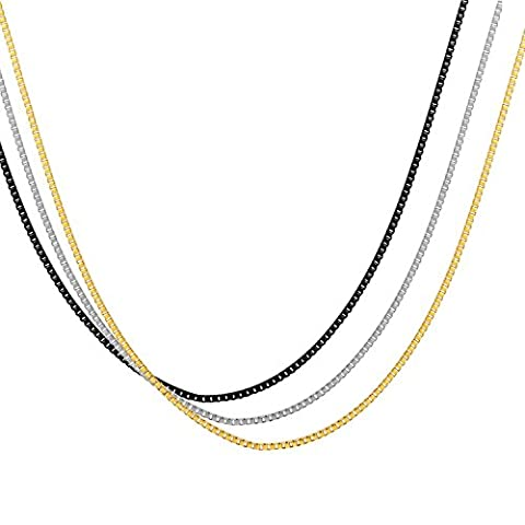 Areke 1.2mm Stainless Steel Box Chain Necklaces for Men Women Pack of 3Pcs 14 36 inches Black Gold Silver Item Length 36 (Meditation Claw Bell)