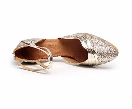 DQuietness Frauen Tanzschuhe Latin Sparkling Glitter / Paillette / Synthetische Kubanische Ferse Schwarz / Silber / Gold / Mehrfarbig Gold
