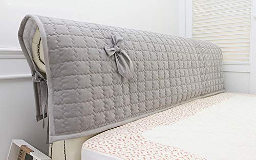 Cotton Bed Headboard Slipcover w Ties Quilted Hood Cover Padded Removable 2 Size (A) - Headboard Slipcover Cotton