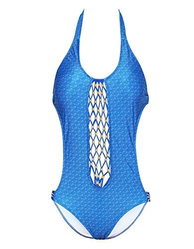 HZZ De una pieza del traje de baño halter ahueca hacia fuera la playa traje de baño del bikini de las mujeres sin respaldo Blue